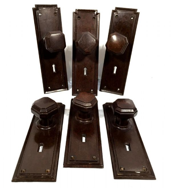 Set of 6 Bakelite 1930s Door Handles / Handle Surrounds / Antique Architecture